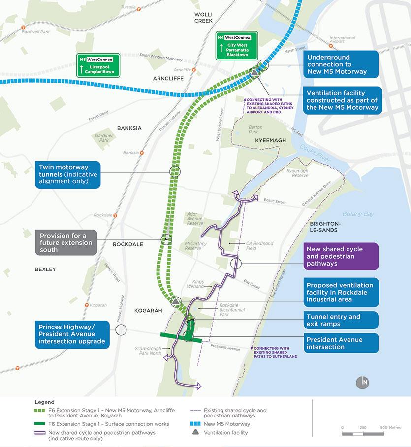 Fig 1. M6 Stage 1 extends the underground M8 highway underground south to Kogarah