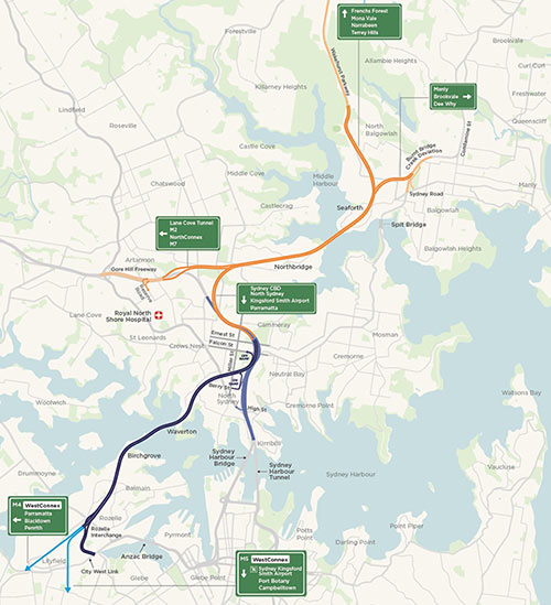 Fig 1. New Western Harbour and Beaches Link western bypass route