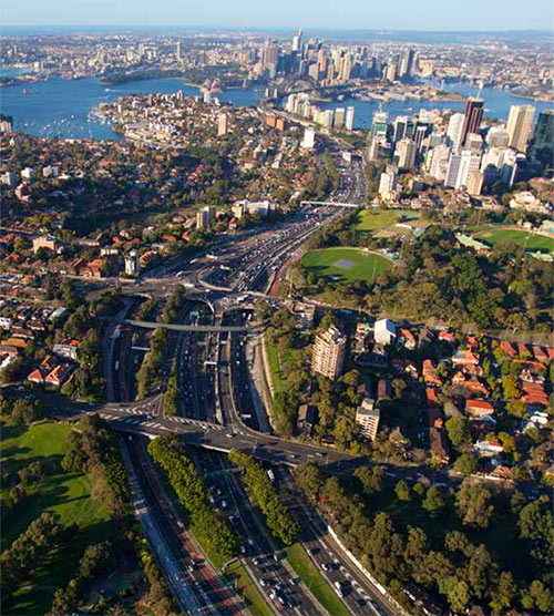 Warringah Freeway leading from north to the Harbour Bridge and Tunnel crossing, one of the busiest traffic routes in Sydney