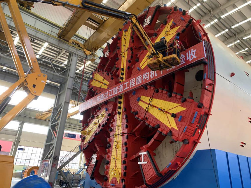15m mega slurry TBM ready for under-river highway drive