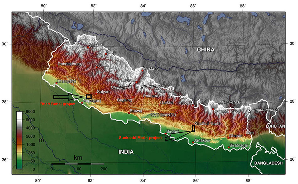 Fig 1. Location of the Sunkoshi Marin project as the second TBM excavation project in Nepal after the successful Bheri Babai project