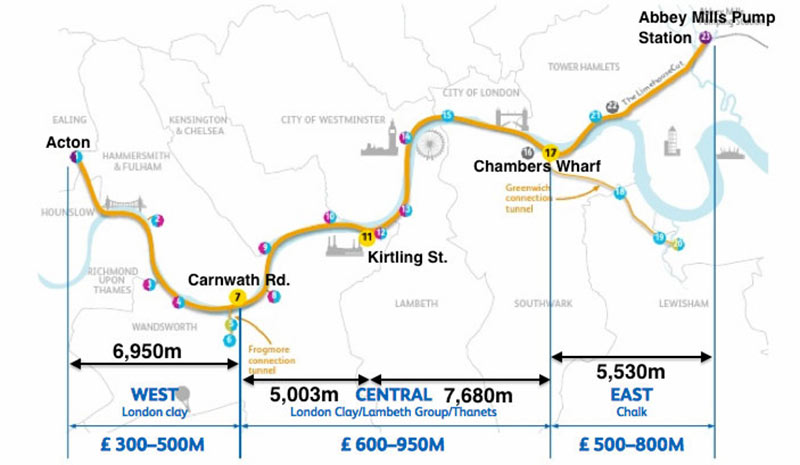 Fig 2. The 25km long Tideway route and drives by contract
