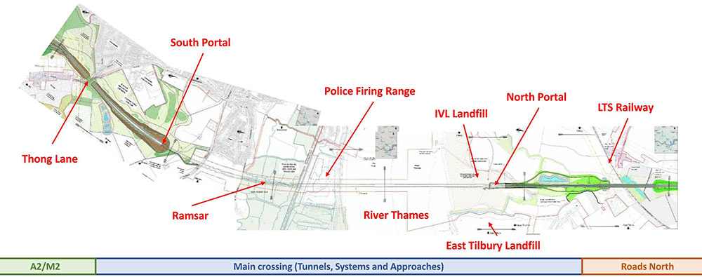 Fig 2. The 4km Lower Thames Crossing for two mega TBMs