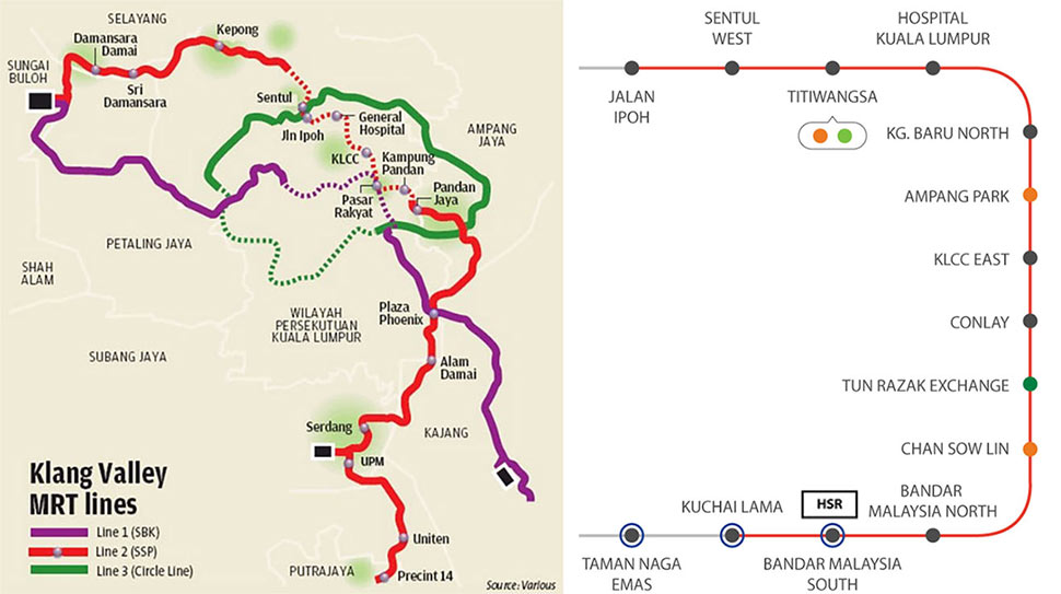 Scope of the Klang Valley MRT with all excavation of the central section of the red Putrajaya Line 2 now complete