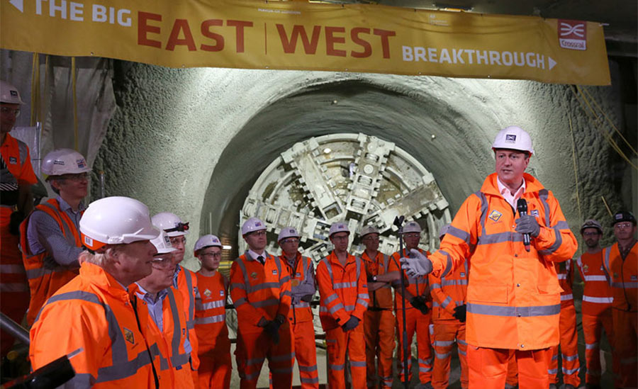 UK Prime Minister (centre) and Mayor of London (first left) celebrate the last Crossrail TBM breakthrough at Farrindgon SCL mined station works in May 2015