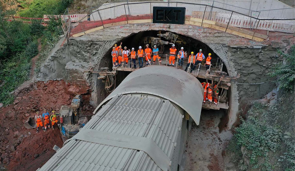 Breakthrough at the North Portal of the Kuckuckslay tunnel in July 2020