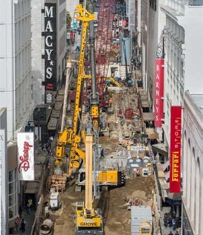 Battered drilled shafts as permanent ground support in San Francisco