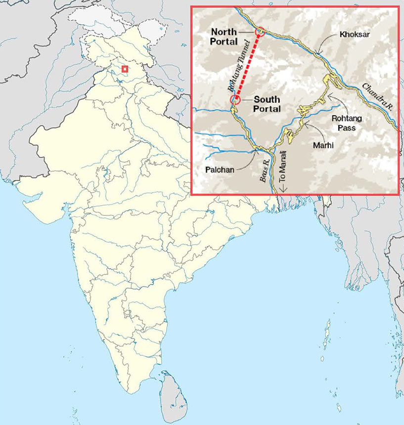 Fig 1. Location of Rohtang high in the Himalayas
