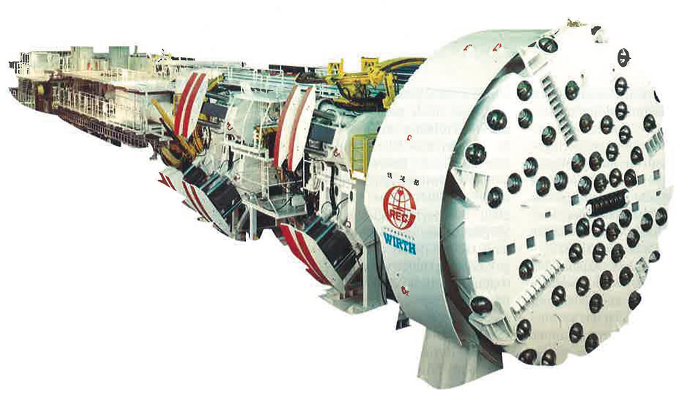 Two 8.8m diameter hard rock TBMs, together with all associated backup and support equipment, were supplied by Wirth of Germany to the 18.5km long Qinling railway tunnel