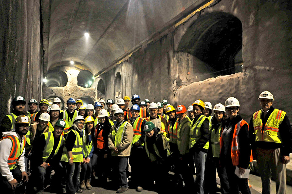 Several Moles Students' Day tours visited the East Side Access rail station caverns beneath Grand Central Terminal in New York City