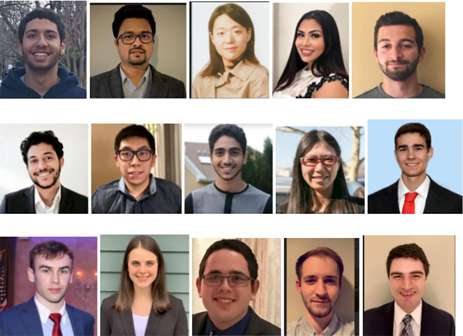 Left to right from top: Smadi, Sarkar, Lim, Blancas, Pullia, Abreu, Leung, Metias, Zhang, Wheeler, Grace, Foertch,  Del Prete, Scala, Jacobs