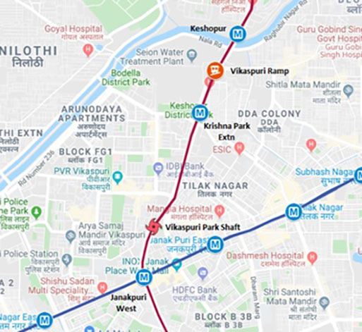 Fig 1. Map of the Delhi Metro Phase 4 extension