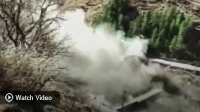 See the moment a construction coffer dam was washed away