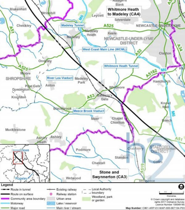Fig 1. HS2 Phase 2a underground sections Whitmore Heath and Madeley