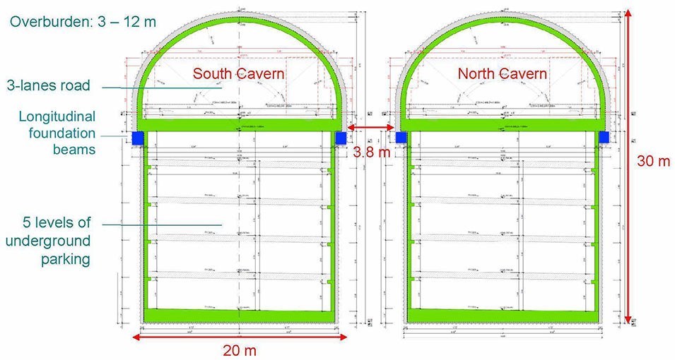 Fig 3. Design details and excavation sequences of the caverns