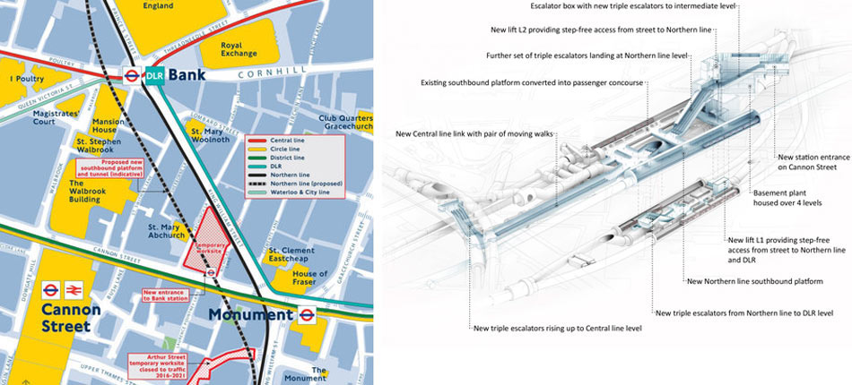 Fig 1. Plan (left) and 3D image of the additional elements of the Bank Underground Station upgrade
