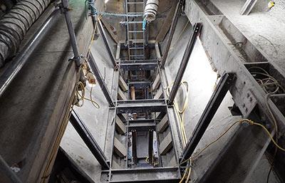 Looking down between the platform tunnels