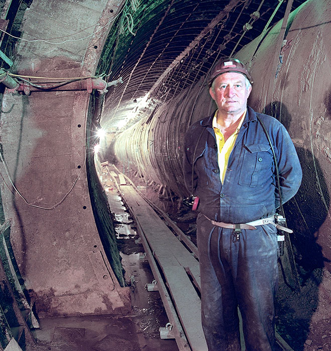 Dai in his element, underground on the Angel Station upgrade in London in the early 1990s