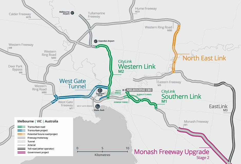 Fig 2. Highway projects in Melbourne