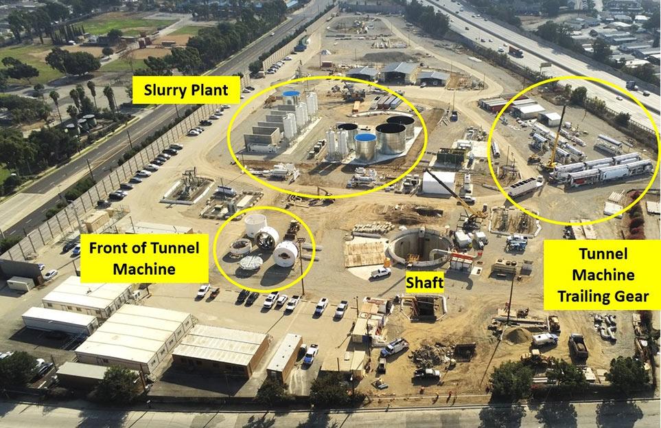Site setup for segmentally lined slurry TBM drive