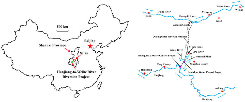 South to north Hanjiang River to Weihe River Water Diversion Project passes under the high Qinling mountain range