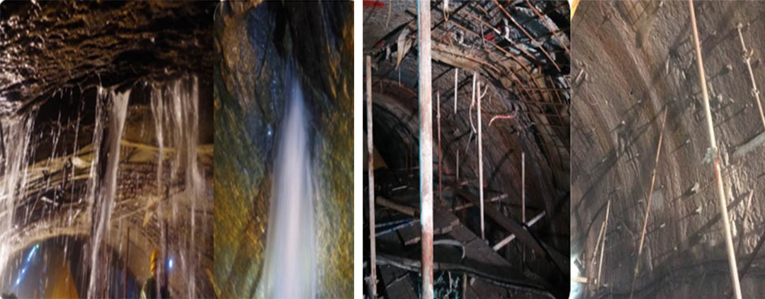 Before (left) and after (right) a programme of grouting to control water inflows