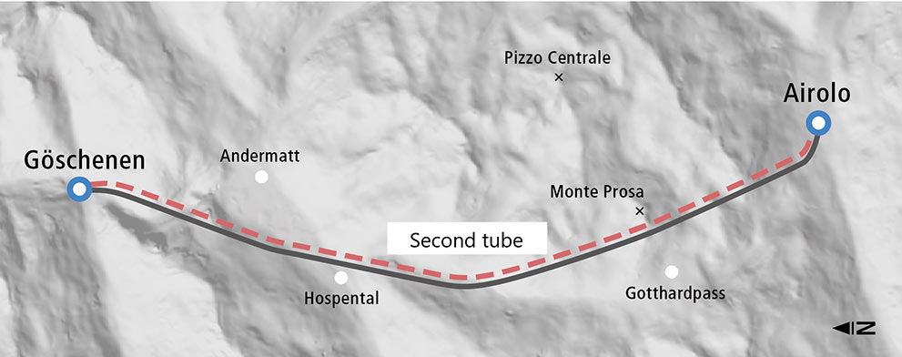 Fig 1. New parallel alignment for Gotthard road link