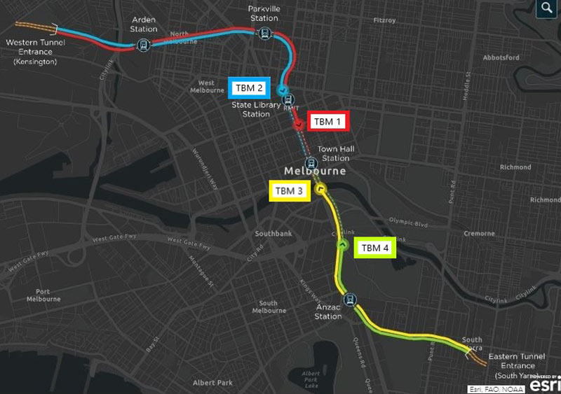 Fig 1. Progress of four TBMs on the Melbourne Metro drives
