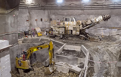 Roadheaders completed most of the underground station excavations