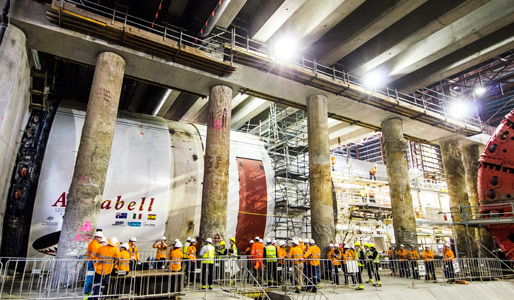 TBM Annabell launches on the first drive for Brisbane's 4.6km twin-running Legacy Way road tunnels