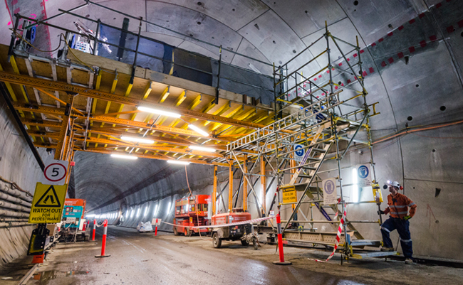 Inside the western tunnel, with backfilling complete