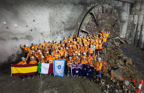 Celebrating first breakthrough on 4.6km Legacy Way traffic tunnel in Brisbane