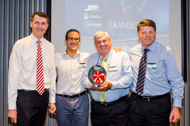 Brisbane Mayor Graham Quirk congratulates Transcity team on its ITA award for Major Tunnel Project of the Year. From left to right: Graham Quirk, Fernando Fajardo (Transcity Project Director), Mick Power (MD, BMD Constructions), Giuseppe Benassi (Area Manager, Australia Ghella)