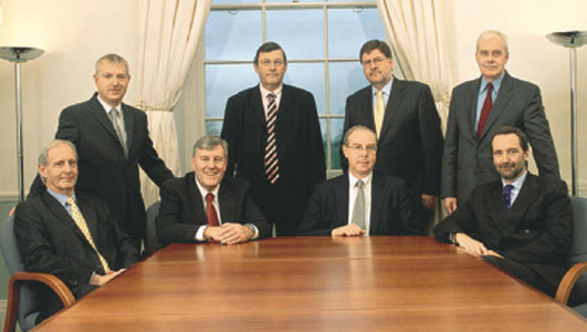 Halcrow Holdings board of directors (2007). Standing from left: Alan Saffer, Tony Pryor CBE, Ken Mair, Les Buck. Sitting from left: David Kerr, Neil Holt, Peter Gammie, John Theakston