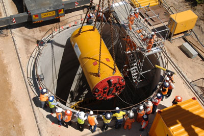 Herrenknecht TBM lowered for Alkimos water tunnel