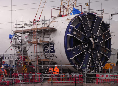 Assembly of TBM Elizabeth at the Limmo job site