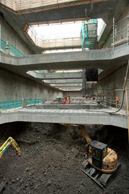 Shaft excavation down through London Clay