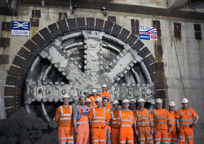 First Crossrail TBM breakthrough at Canary Wharf