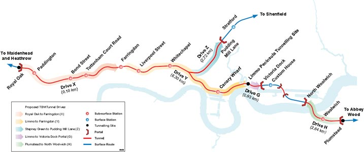 Crossrail alignment beneath central London and under the Thames at Woolwich