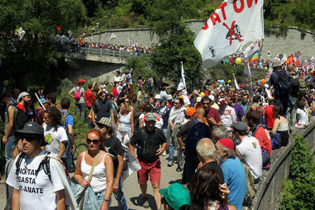 Protesters gather against the project in Italy
