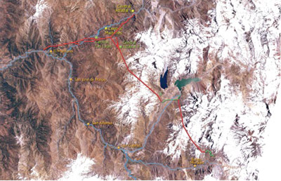 Alignment traverses high-altitude Andes