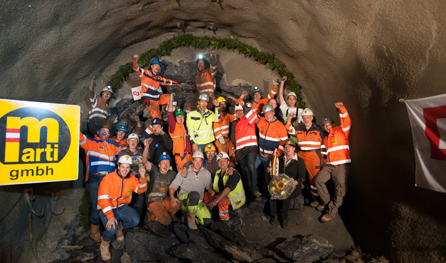 Marti Tunnelbau contractors celebrate breakthrough